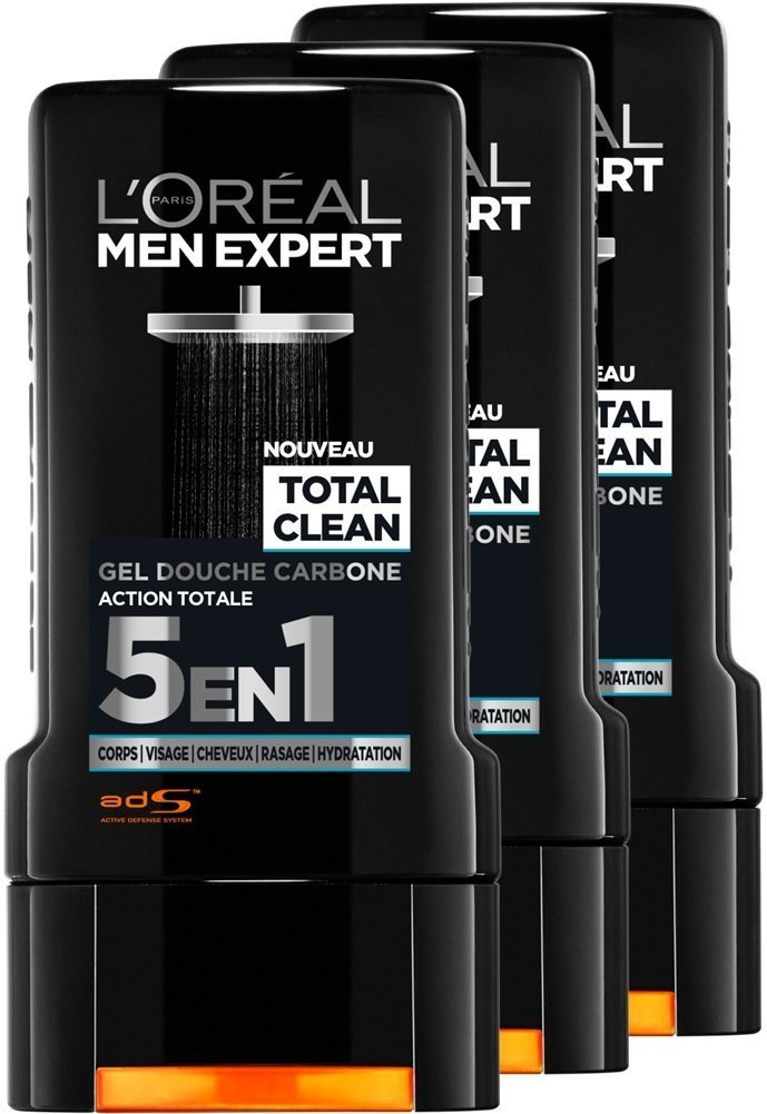 L'Oréal Men Expert Total Clean Gel de Ducha 5 en 1 Men 300 ml – juego de 3