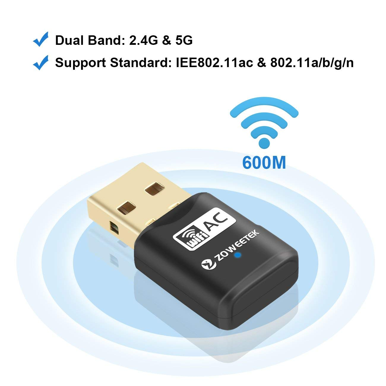 USB 3.0 WiFi AC600 (2.4Ghz & 5Ghz)