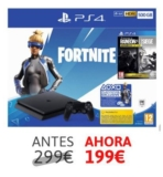 PS4 500gb + Voucher Fortnite + Rainbow Six Siege Advanced Edition solo 199€