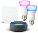 Echo Dot 3.ª Gen. + Kit de 2 bombillas LED E27 y puente solo 86.9€