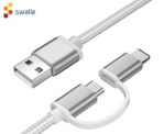 Cable micro USB + lightning 2 en 1 solo 0,2€
