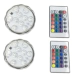 Pack de 2 lámparas LED sumergibles con mando a distancia